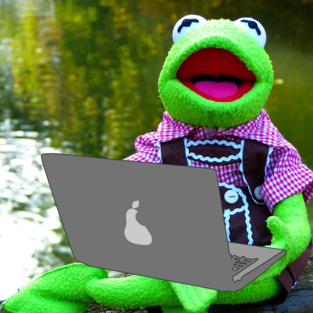 Frog Kermit wears a red and white checkered shirt and leather pants, laptop on the lap with pear symbol